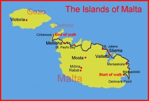 Cirkewwa Malta  City pictures : Map of the route from Marsaxlokk/Delimara Point to Cirkewwa